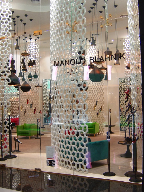 The Manolo Blahnik Store - designed to look like a fishtank with the shoes being the fish.
